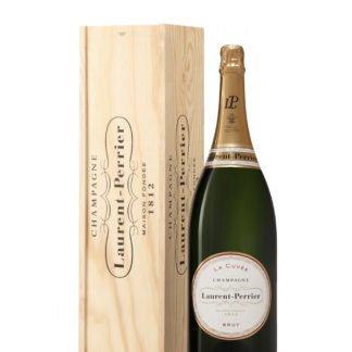 Bouteille de champagne Laurent Perrier cuvée Jeroboam avec caisse en bois créée par Olivier Martinot