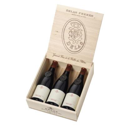 Coffret bois 3 bouteilles vin Delas