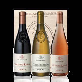 Coffret vin blanc rouge rosé saint esprit delas