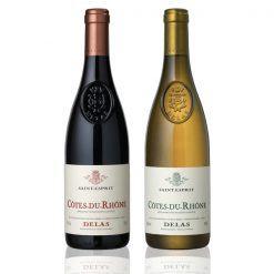 Coffret 2 bouteilles Delas rouge blanc