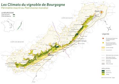 carte climat vignoble bourguignon