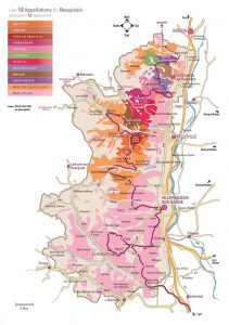 Carte appellations vin beaujolais