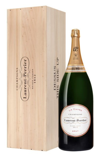 Bouteille de champagne Laurent Perrier cuvée Balthazar avec caisse en bois créée par Olivier Martinot