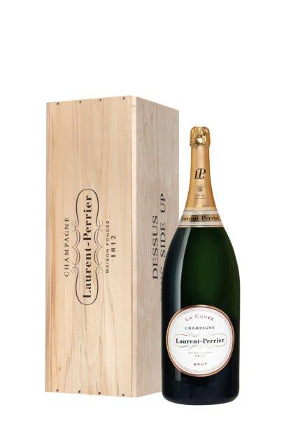 Bouteille de champagne Laurent Perrier cuvée Mathusalem avec caisse en bois créée par Olivier Martinot
