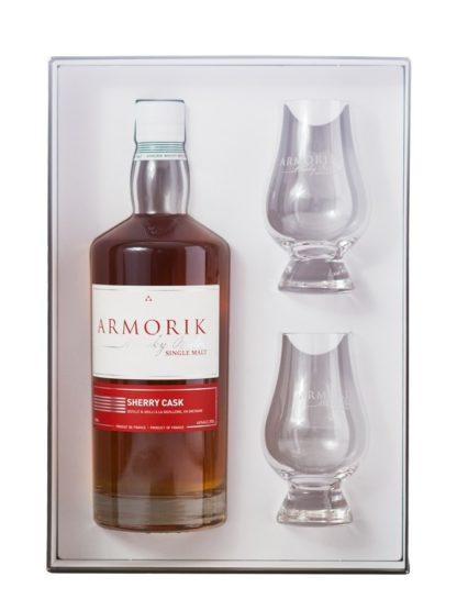 Coffret bouteille et 2 verres du Whishy breoton Armorik